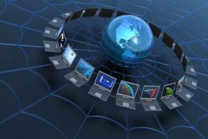 Global computer network. Hi-res digitally generated image.
