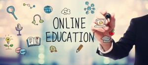 Businessman drawing Online Education concept